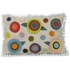 Folk Art Flowers on Linen Pillow | Handmade Embroidered Pillow