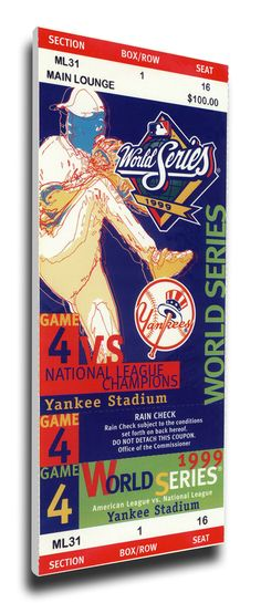 1999 World Series Game 4 Canvas Mega Ticket - New York Yankees