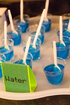 Minecraft party food ideas - 'Water' which is just blue jello
