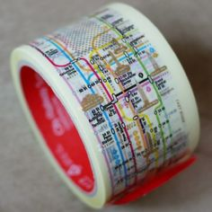 NYC Subway map on (of all things) packing tape by: Fancy New York Subway, Nyc Subway, Tokyo Subway, Cinta Washi, Subway Map, Map Globe, Masking Tape, Washi Tapes, Duct Tape