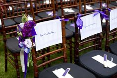 Ceremony seating cards and flowers