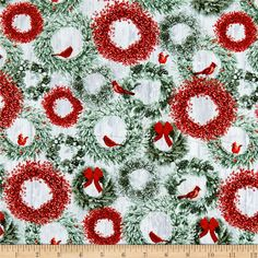 cf3141690 Holiday Wishes Wreaths Green from  fabricdotcom Designed by Jan Shade Beach  for Henry Glass