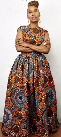 N D O T O Belle Maxi Skirt is made from beautiful Vlisco Dutch wax, soft gatheri. - N D O T O Belle Maxi Skirt is made from beautiful Vlisco Dutch wax, soft gathering at waist, high waist band, fully lined skirt. African Fashion Designers, African Inspired Fashion, African Dresses For Women, African Print Dresses, African Print Fashion, Africa Fashion, African Attire, African Wear, African Fashion Dresses