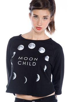 Moon Child Cropped Sweatshirt - Black from Tres Bien at Lucky 21