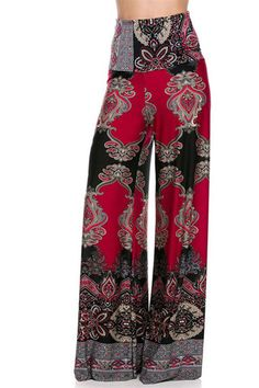 High Waist Fold Over Wide Leg Gaucho Palazzo Pants (Red Multi-1) – Niobe Clothing
