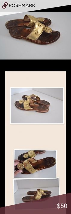"""Jack Rogers Hamptons sandals Jack Rogers Hamptons classic sandals Size 6 Easy slip on style.  Whipstitching leather upper in gold color Thong style Stacked wooden heel 3/4"""" Leather & synthetic soles Wear to soles and insoles (pic) when worn, wear will not be noticeable. Gold leather exterior details in excellent condition! Jack Rogers Shoes Sandals"""