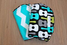 Baby Boy Burp Cloth or Bib Set of 2 Guitar and Chevron in Teal and White on Etsy, $18.00