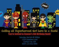 Superhéroe invitación imprimible fiesta de cumpleaños