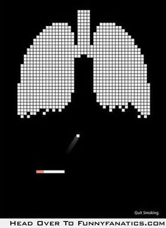 Anti-smoking ad. Clever.  Understandable even from some distance away.  And not gross and off-putting so it will sink in.