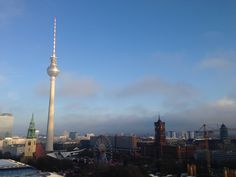 View from the Berliner Dom at the Christmasmarket at the 'Rode Raadhuis' and the TV-Tower