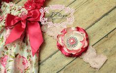 pink ivory vintage handmade flower headband  by JElisynBoutique, $15.00