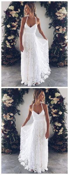 White v neck lace long prom dress, white evening dress P1061 #promdress #promdresses #promgown #whitepromgowns #long #laceprom #modestpromdress #newpromdress #2018fashions #newstyles