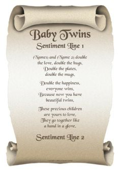 Poem about adult twins
