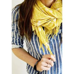 Weekend ready! | #vintage yellow summer weight scarf from @madewell1937  Linen stripes from @jcrew  #howtojcrew  #ootd #aotd #memorialday