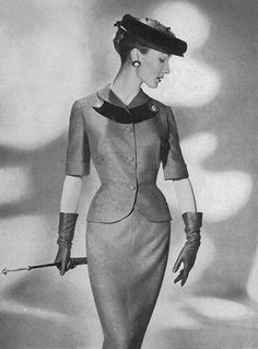 Jacket idea For my vintage dress mid fashion, suit, hat and gloves. 50s Glamour, Vintage Glamour, Vintage Beauty, Vintage Ladies, Fashion Moda, Look Fashion, Timeless Fashion, Fashion Ideas, Womens Fashion