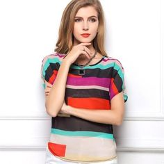 T.A.T. Sporting Goods: Batwing Sleeve Style Women's Top https://trainedandtrue.com/products/european-and-american-fashion-style-rainbow-colored-batwing-short-sleeve-loose-chiffon-irregular-striped-females-blouse