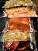 Make ahead meals: ·         ShreddedPork BBQ  ·         Chicken with Honey Sauce  ·         Oh So Easy Pork Chops  ·         Sesame Chicken  ·         Marinated & Baked Pork Chops  ·         Marinated Steak  ·         Twice Baked Potatoes