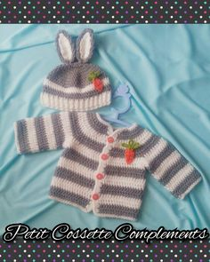 Funny bunny baby set, hadmade by: Petit Cossette Complements