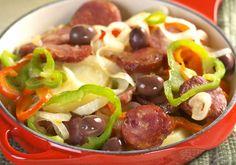 Linguiça com batata e pimentão - Blog da Cris Feu