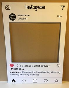Personalised Instagram Social Media Party Selfie Photo Frame Party