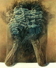 Zdzisław Beksiński - year:	1979; technique:	oil on hardboard; dimensions:	61 x 73 cm;