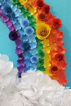 Patrick's Day Rainbow Decoration Ideas To Bring in the Colorful Vibes in your home 30 St. Patrick's Day Rainbow Decoration Ideas To Bring in th. Rainbow Parties, Rainbow Birthday Party, Rainbow Theme, Rainbow Colors, Diy And Crafts, Crafts For Kids, Arts And Crafts, Paper Crafts, Rainbow Decorations