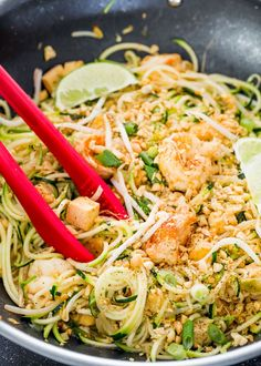 Pad Thai Zoodles - take your favorite Pad Thai recipe and make it healthier with oodles of zoodles instead of high carb noodles, weighing in at a mere 260 calories a serving.
