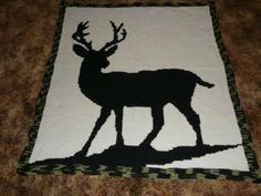 Items similar to Stag Deer with Camouflage Trimming Crochet Afghan Blanket Throw on Etsy Crochet Deer, C2c Crochet, All Free Crochet, Easy Crochet, Crochet Hooks, Crochet Afghans, Crochet Blankets, Crotchet, Stag Deer