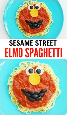 We came up with this fun Elmo Sesame Street Spaghetti Dinner and think this turned out so cute! This is very easy to make and your little Sesame Street fans will love it! Fun Dinners For Kids, Fun Snacks For Kids, Healthy Meals For Kids, Dinner Recipes For Kids, Fun Kid Dinner, Dinner Ideas, Sesame Street Food, Sesame Street Crafts, Kids Cooking Recipes