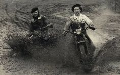"""History In Pictures on Twitter: """"Women mud racing on Harley Davidsons, 1948 """""""