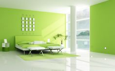 Groene verfkleuren in de slaapkamer