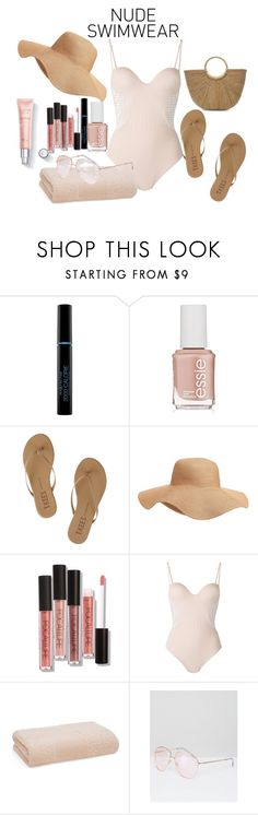 """""""Nude Swimwear"""" by olivia597 ❤ liked on Polyvore featuring Max Factor, Essie, Tkees, Old Navy, La Perla, Abyss and ASOS"""