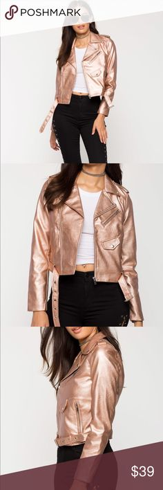 NWT high shine metallic moto jacket rose gold smal Brand New very pretty High shine metallic moto jacket  small. Rose  gold color. I'm also selling different color on a separate listing. Check out my closet, we have a variety of women's MK Micheal Kors Lululemon Free People Lucky Brand jeans Coach Pink VS Victoria Secret handbags  purse  shoes  sandals Gold, silver black chocker pineapple  bracelet earrings dresses  tops  skirts bags leggings Beauty & more...Offers 30% OFF discount. FREE…