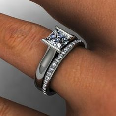 Platinum contemporary princess cut diamoond engagement ring with matching diamond wedding band