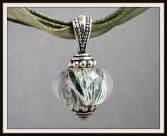 Organic Sage Green Lampwork Necklace  by SerendipityByErin on Etsy, $16.00