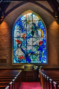 #ART | #Travel | Marc Chagall | 1966: Eight stained-glass windows of the Prophets installed at the Church at Pocantico Hills, New York.