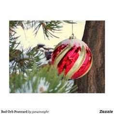 Shop Red Orb Postcard created by Personalize it with photos & text or purchase as is! Holiday Cards, Christmas Cards, Holiday Decor, White Elephant Gifts, Christmas Bulbs, Art Pieces, December, Templates, Create