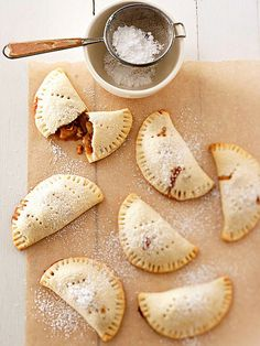 Bananas Foster Mini Pies - Use up that one last banana sitting on your counter in the bourbon-infused banana filling of these hand pies. You get a whole pie to yourself -- made in miniature! Banana Dessert Recipes, Mini Desserts, Healthy Dessert Recipes, Healthy Baking, Pie Recipes, Just Desserts, Baking Recipes, Pie Dessert, Plated Desserts