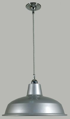 Chrome Silver Warehouse Suspension Light 300mm with Black and White Cord