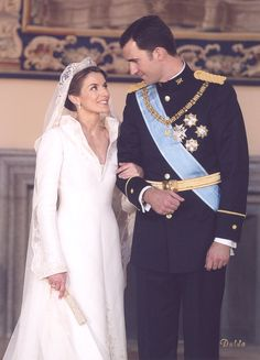Wedding photograph of Prince Felipe and Letizia Ortiz, the Prince and Princess of Asturias in 2004.