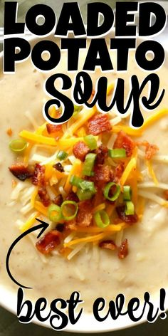 My husband goes CRAZY for this loaded potato soup! Its good for the belly AND the soul. You cant beat the creamy rich broth with tender bites of potato and loaded with cheese and bacon. Potato Cheese Soups, Potato Bacon Soup, Loaded Baked Potato Soup, Best Potato Cheese Soup Recipe, Crockpot Baked Potato Soup, Crockpot Recipes With Potatoes, Easy Crockpot Soup, Best Potato Soup, Slow Cooker Potato Soup