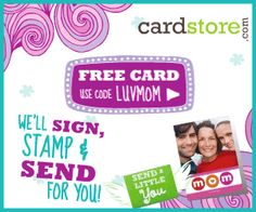 "Tips/Specials / Create the Perfect, FREE Personalized Card for your Mom at Cardstore.com! To celebrate Mother's Day, Cardstore.com is running another FREE card + FREE shipping offer today 4/26 through Sunday, 5/6. The right Mother's Day card does more than tell your mom you remembered – it shows her how much she means to you. Make a unique statement beyond just ""Happy Mother's Day"". Remind Mom how important she is to you.  It's just like sending a little you!"