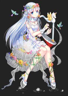 I like the contrast Cute Kawaii Drawings, Anime Girl Drawings, Manga Drawing, Cute Anime Chibi, Kawaii Anime Girl, Anime Art Girl, Pretty Anime Girl, Beautiful Anime Girl, Anime Fairy
