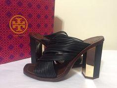 Tory Burch GEO 95MM Mule Black Leather Women's Fashion Heels Sandals Size 6.5 M #ToryBurch #FashionHeelsSandals #Casual