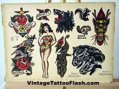 Sailor Jerry flash | vintage tattoo flash, spit shade, antique, tattoo art, tthu, thats the ...