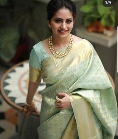 South Indian Wedding Hairstyles, Indian Wedding Wear, Saree Wedding, Indian Wear, Wedding Dresses, Brocade Saree, Silk Sarees, Sari, Saree Blouse