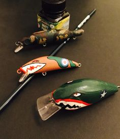 Pike warheads Sharkmouth #noseart style #Hand painted lures #camoflage fishing lures