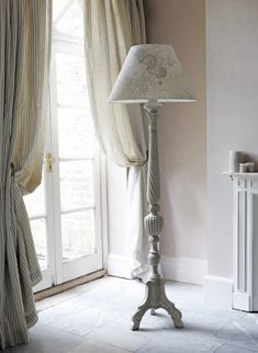 Grey floral fabric adds subtle and exquisite patterns to interiors. The designs also range from vintage interiors to all-out contemporary homes. See them now and order a sample www. My Living Room, Living Spaces, Kate Forman, Free Standing Lamps, D House, Ideal House, Large Lamps, Retro Lamp, Standard Lamps