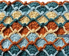 Multicolored Fish scale crochet stitch MyPicot | Free crochet patterns