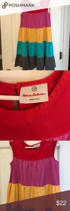 Hanna Andersson twirl power dress Classic HA girls tiered twirl dress.  Size 110.  In good condition.  Thick cotton knit fabric that is meant to give long lifetime of product! Hanna Andersson Dresses